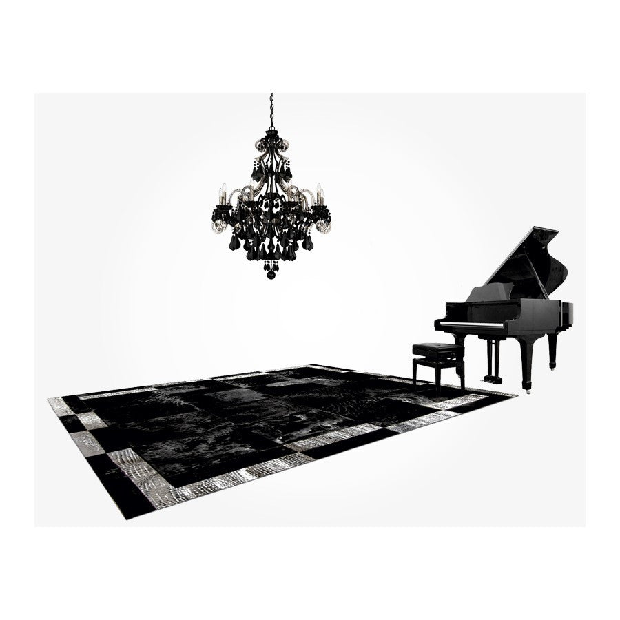 Patchwork Cowhide Rug K-1878 Nero Cavallino Double Frame Silver