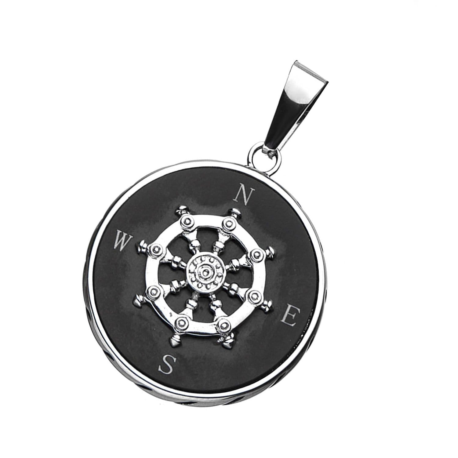 Black & Silver Stainless Steel Ship's Helm with Compass Pendant