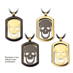 4-in-1 Black & Gold Stainless Steel Skull ID Pendant & Chain Pendants