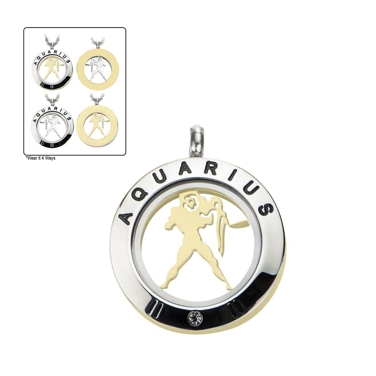 4-in-1 Dual Tone Stainless Steel Mix & Match Aquarius Pendant & Chain Pendants