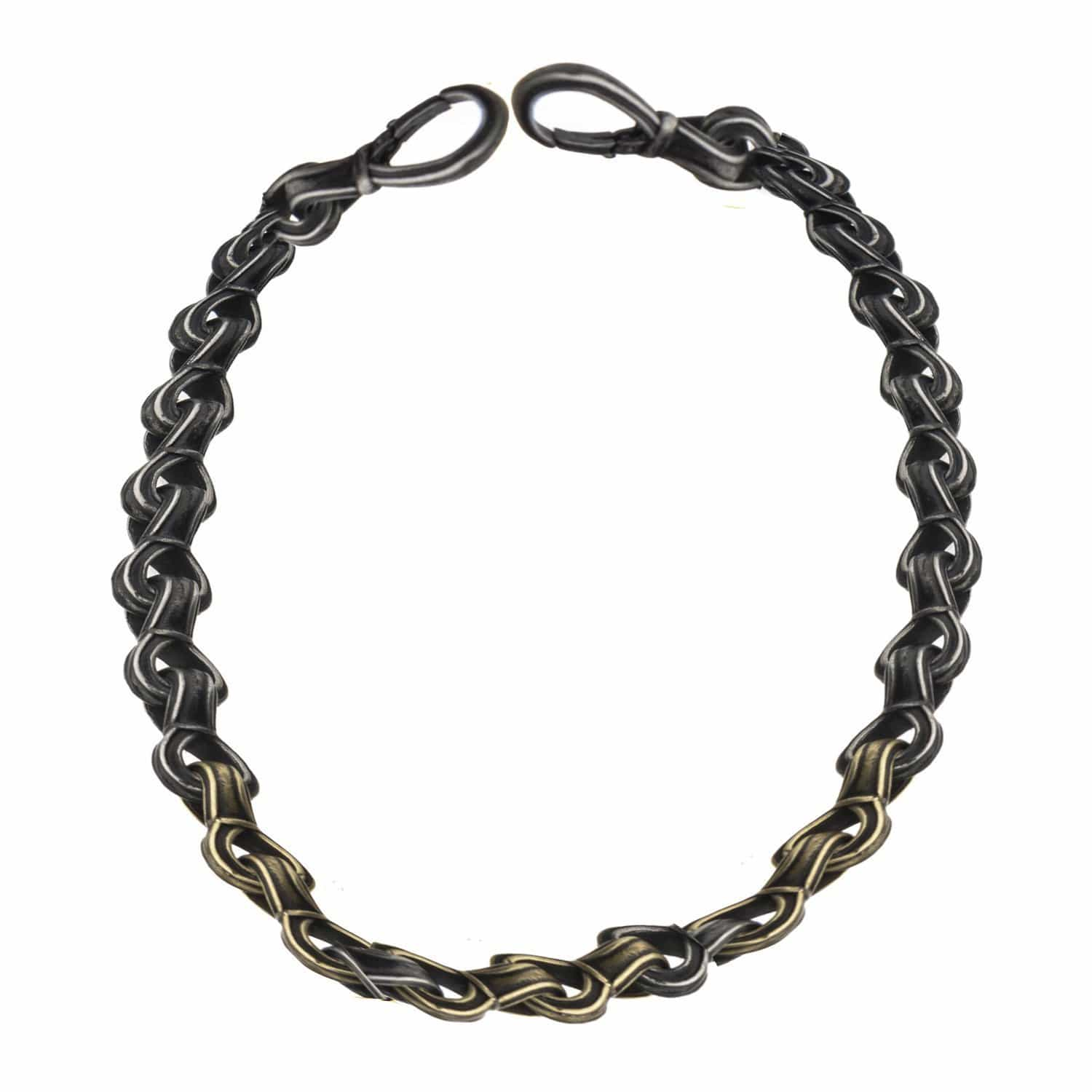 Gold & Silver Stainless Steel Oxidized Finish Detailed Curb Chain Link Bold Bracelet