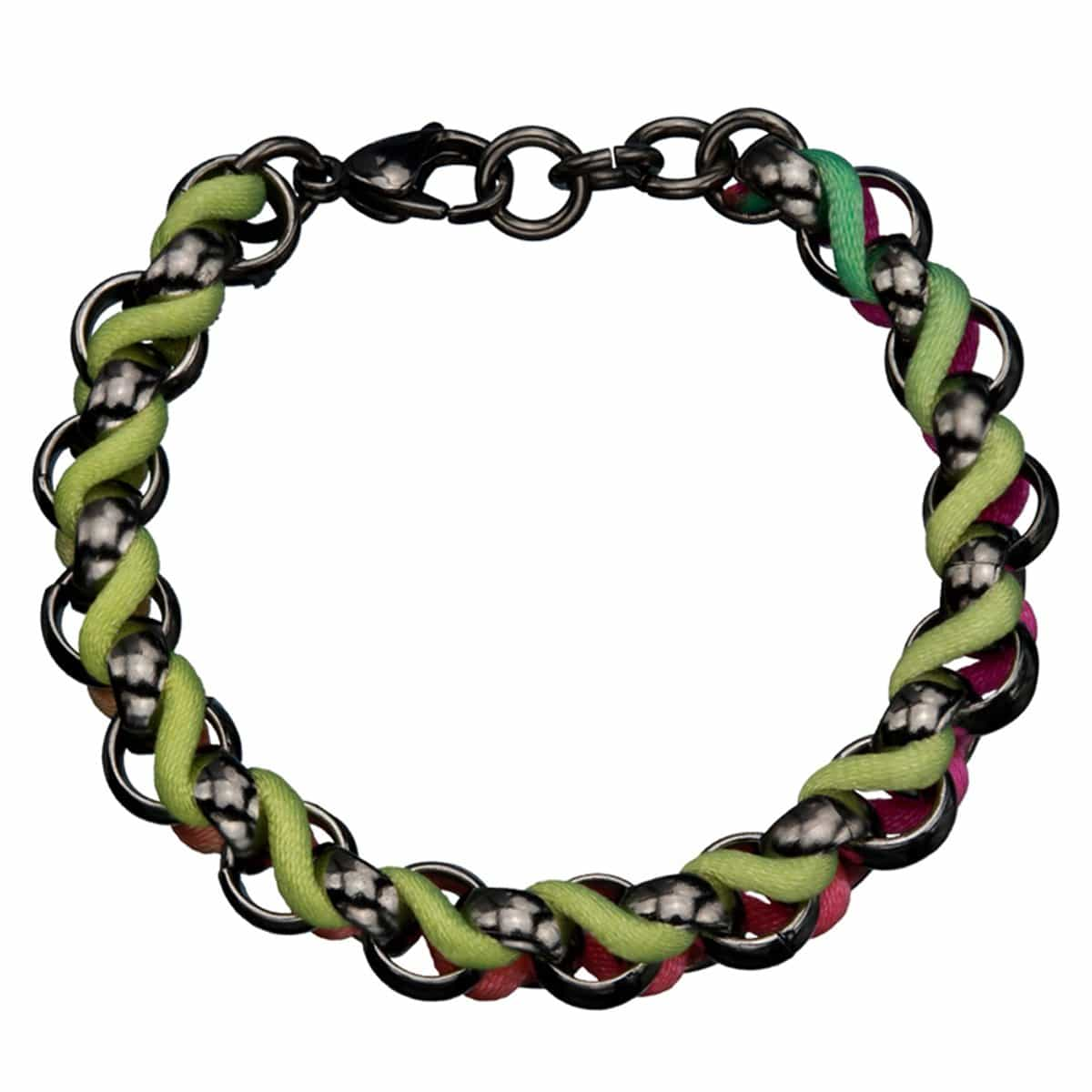 Black Stainless Steel with Muticolor Woven Fabric Bracelet
