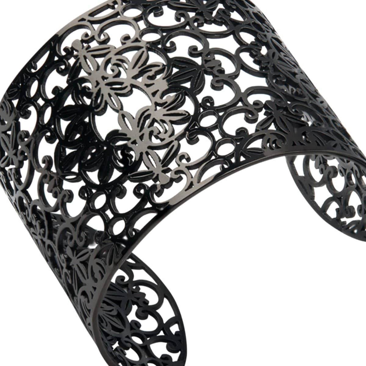 Black Stainless Steel Filigree Floral Design Cuff Bangle