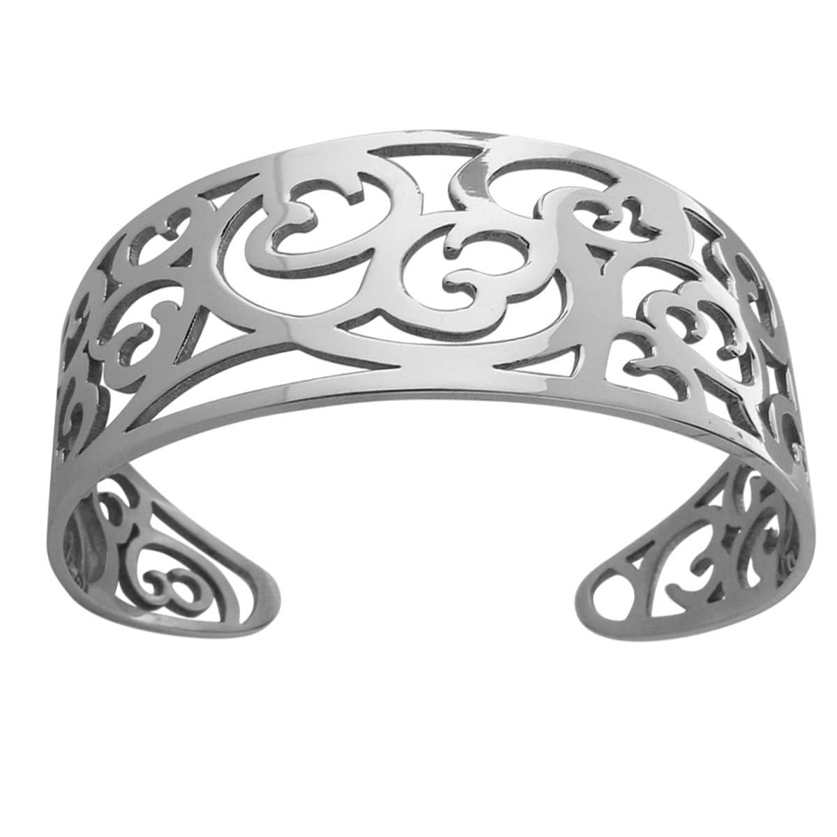 Silver Stainless Steel Fashion Cut-Out Cuff Bangle