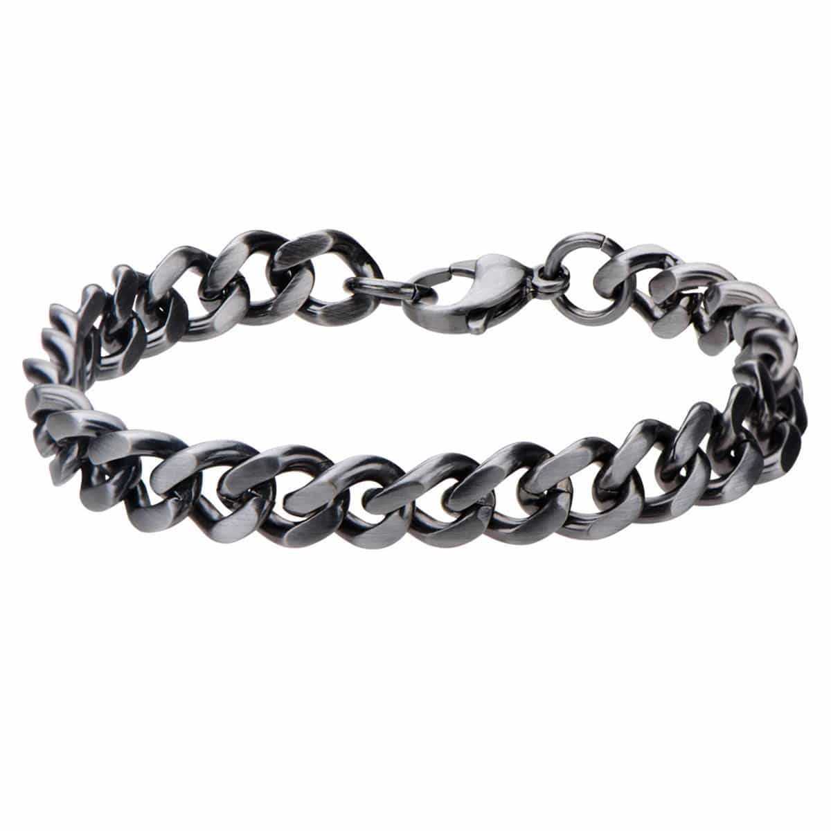 Dark Gray Stainless Steel Brushed 8.7mm Curb Chain Bracelet