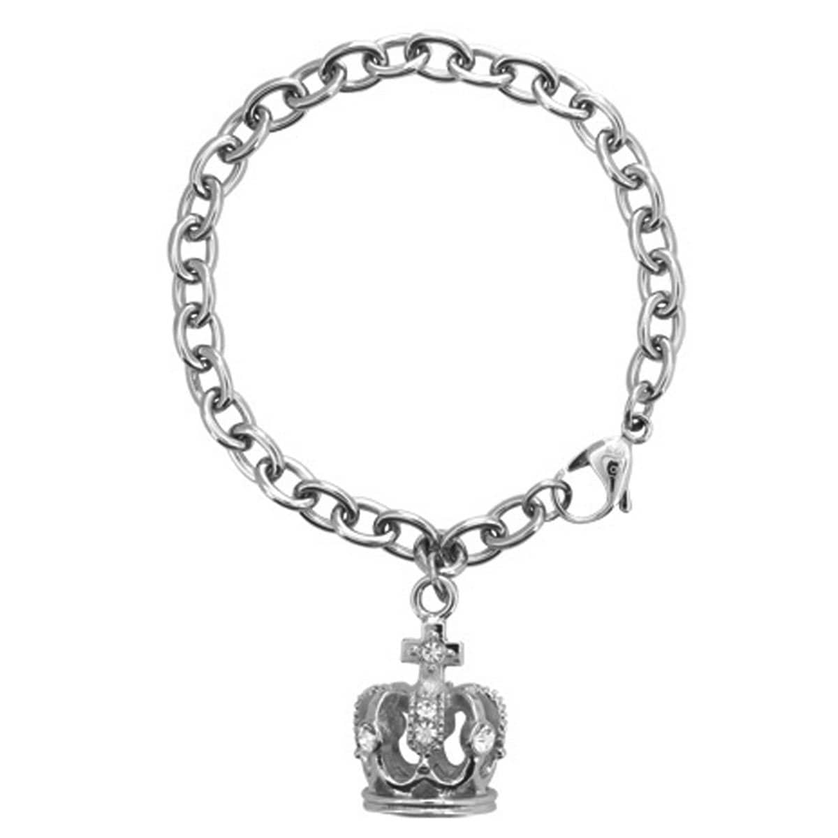 Silver Stainless Steel with Studded Crystal Crown Charm Bracelet