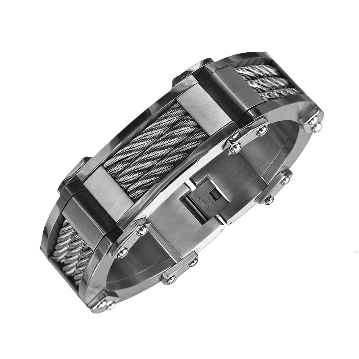 Silver Stainless Steel Industrial Three Large Cable Link Bracelet - Inox Jewelry India