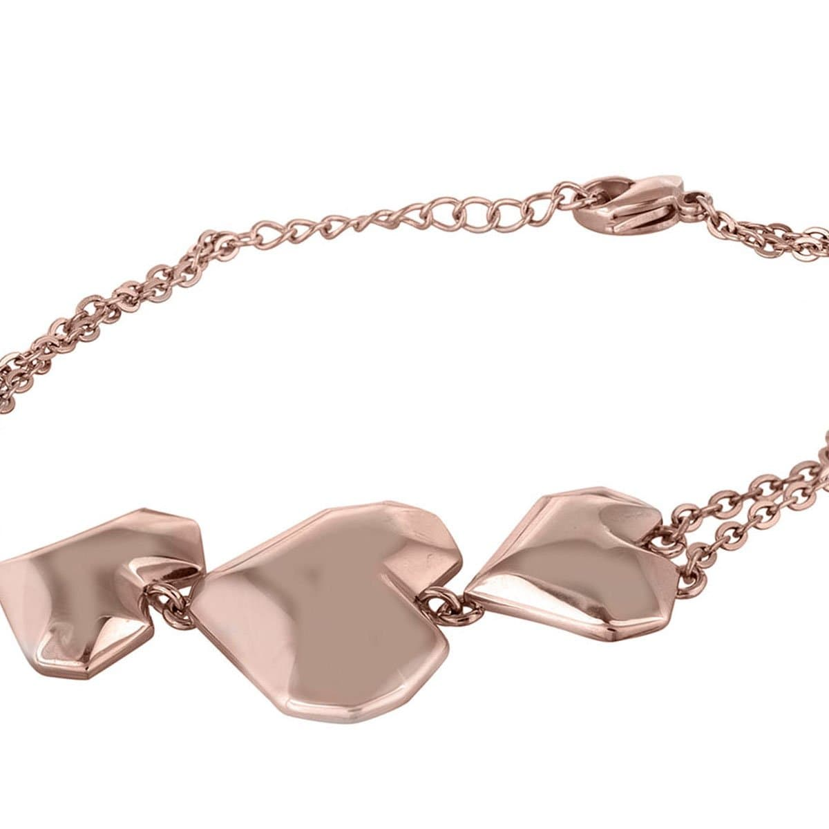 Rose Gold Stainless Steel Three Block Hearts Bracelet