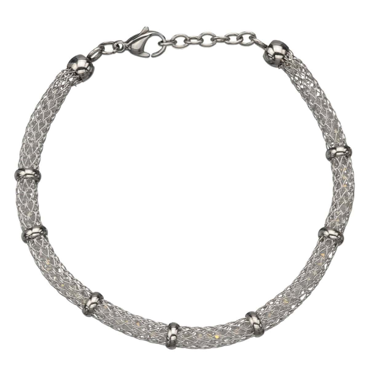 Silver Stainless Steel Thin Polished Net & Bead Bracelet
