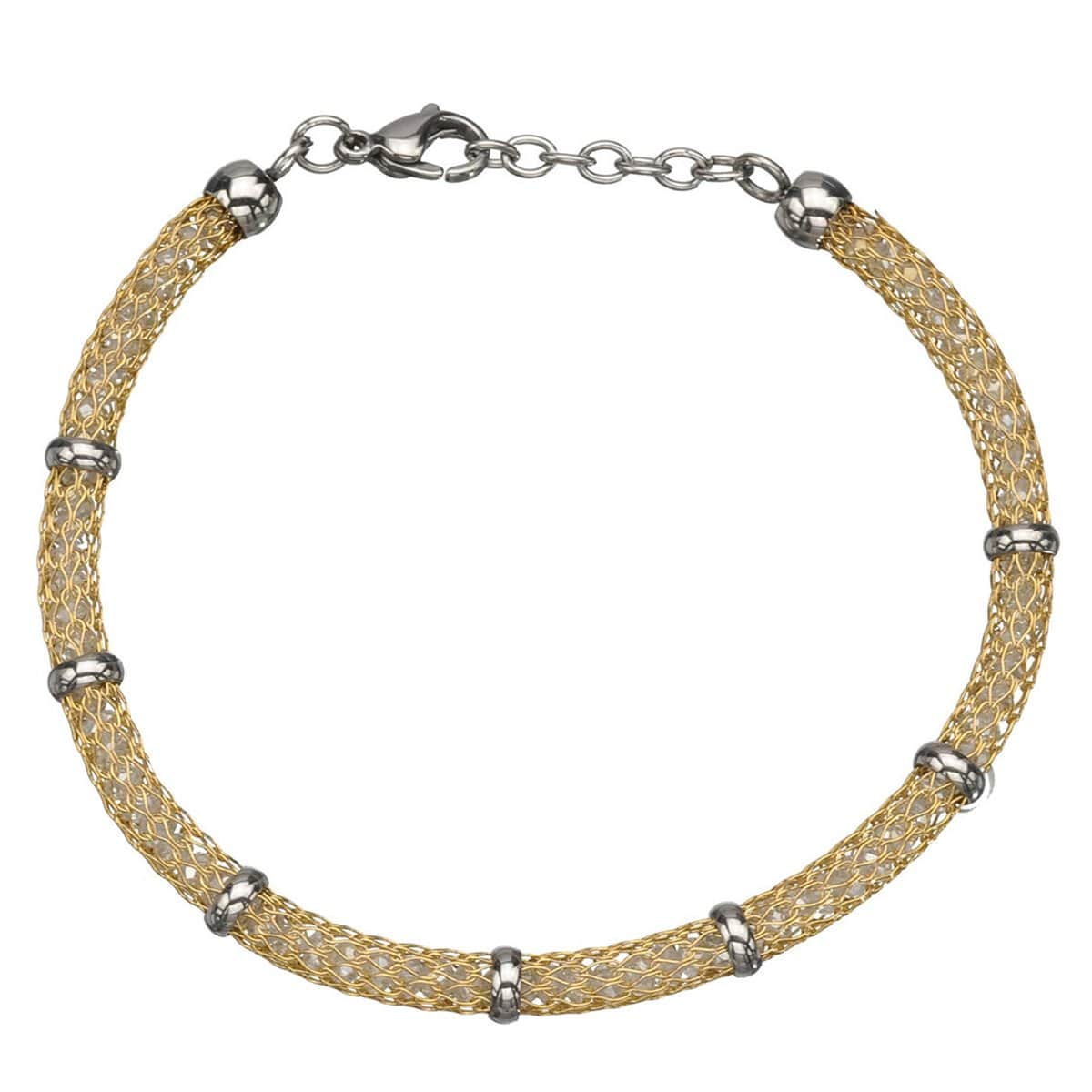 Gold & Silver Stainless Steel Thin Polished Net & Bead Bracelet