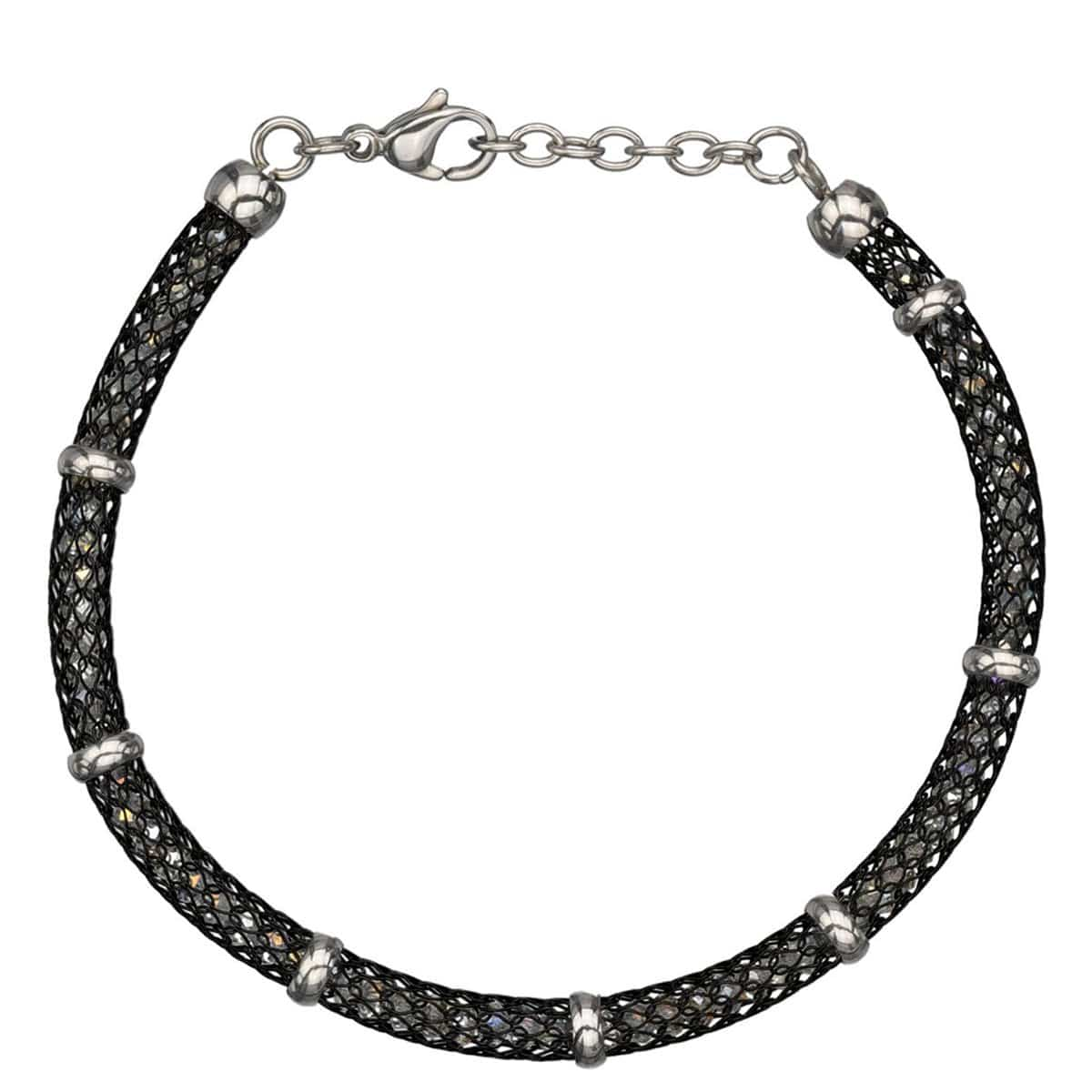 Black & Silver Stainless Steel Thin Polished Net & Bead Bracelet