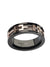Rose Gold, Black & Silver Stainless Steel Buckle Cable Spinner Ring - Inox Jewelry India