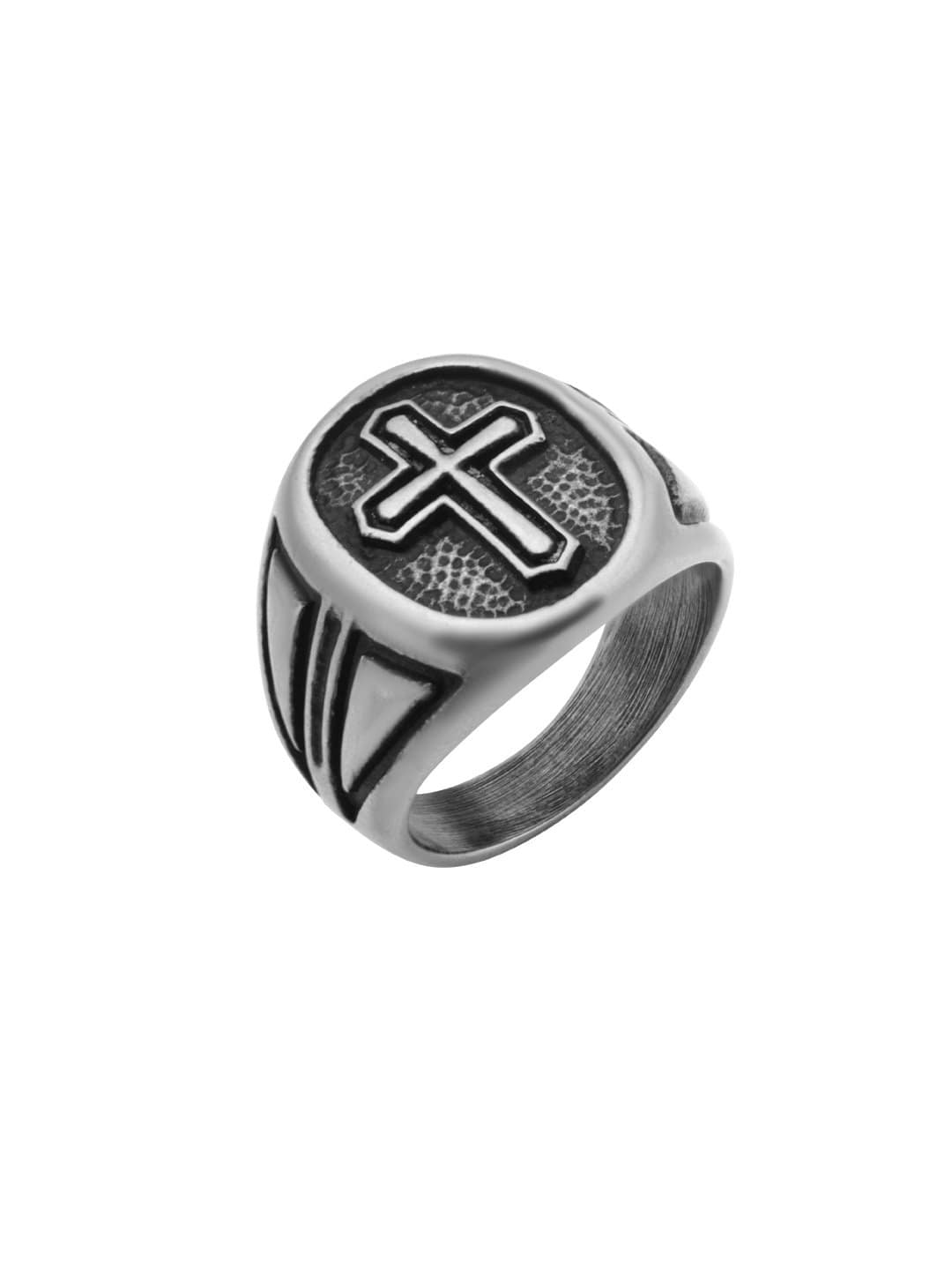 Darkened Silver Stainless Steel Gothic Cross Ring Rings