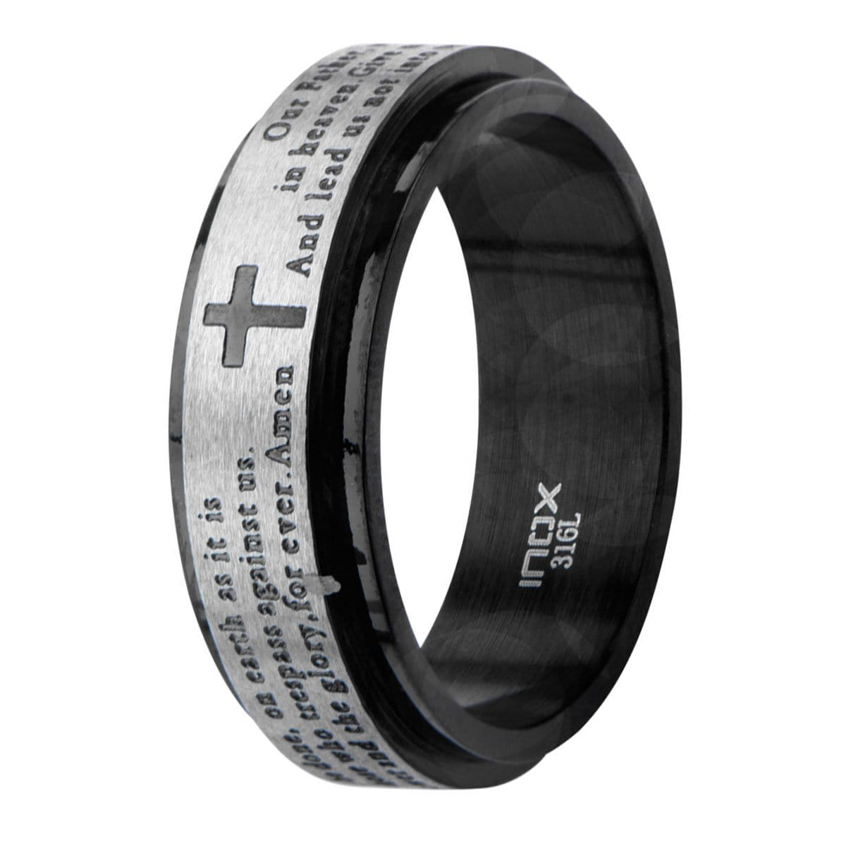 Black & Silver Stainless Steel Prayer Ring