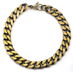Antique Gold Stainless Steel Curb Chain Bracelet Bracelets