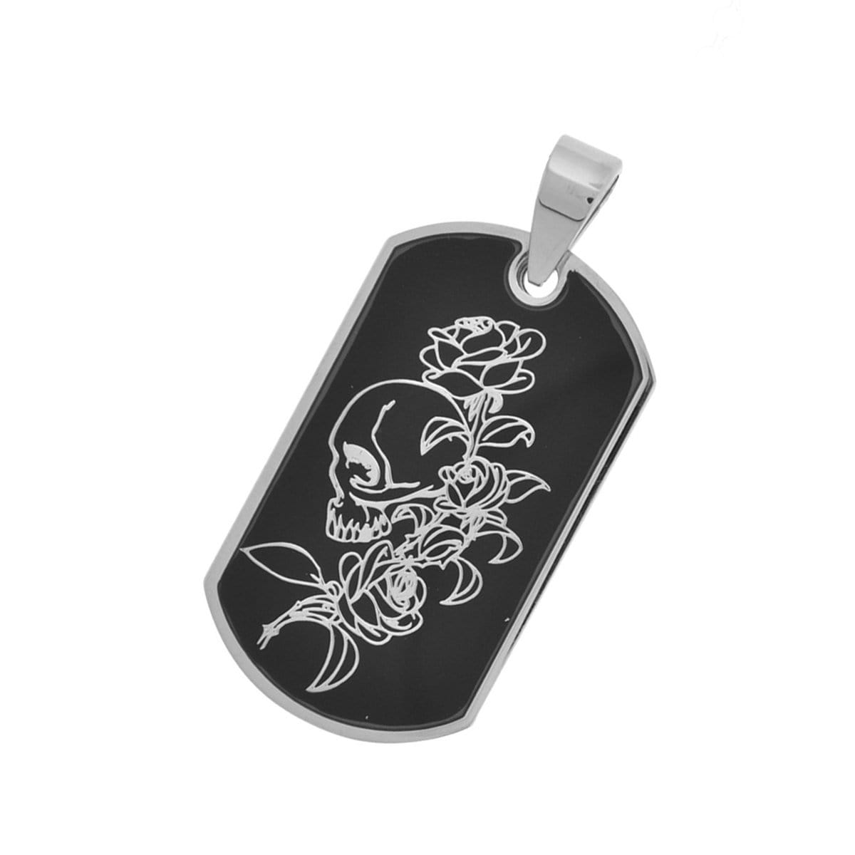 Black and Silver Stainless Steel Skull and Rose ID Tag Pendant