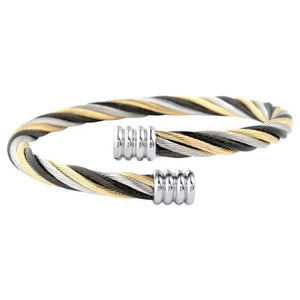 Black, Gold & Silver Stainless Steel Twisted Bangle Cuff Bracelets