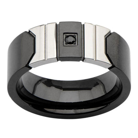 Black & Silver Stainless Steel Abstract Buckle Ring with Black CZ Rings