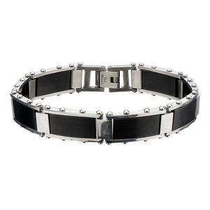 Black & Silver Stainless Steel Adjustable Block Link Bracelet Bracelets