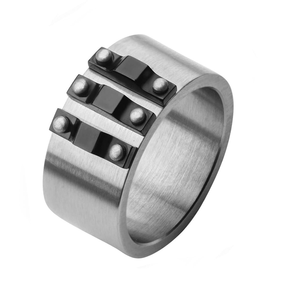 Black & Silver Stainless Steel Bolted Ridge Band Rings