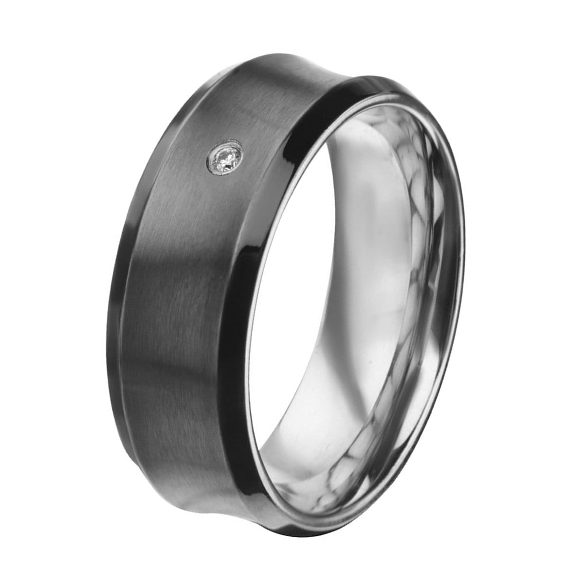 Black & Silver Stainless Steel Brushed White CZ Ring Rings