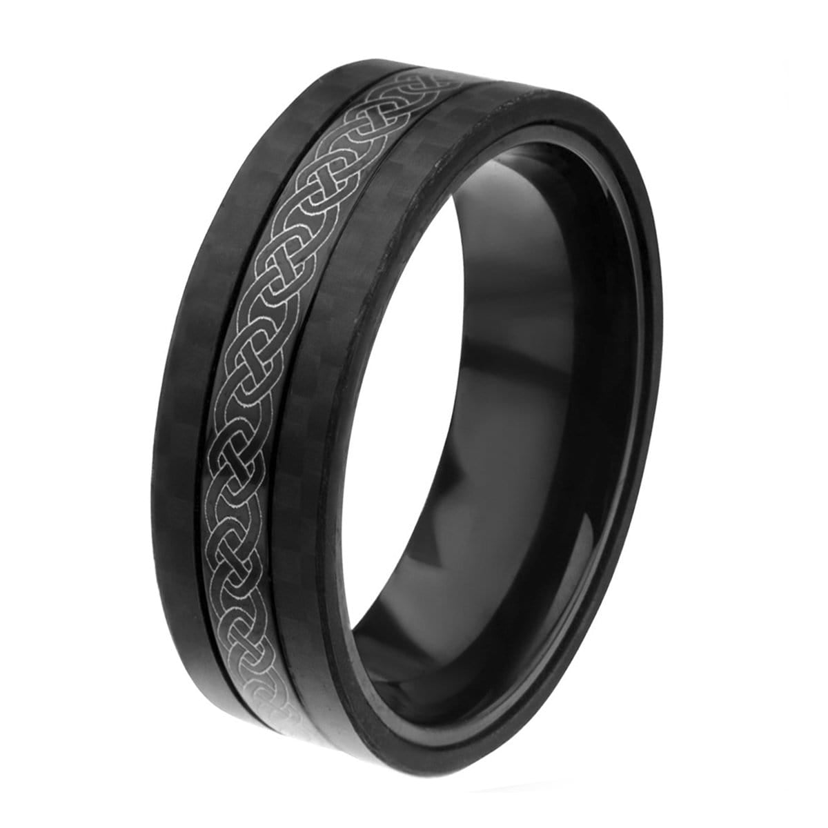 Black & Silver Stainless Steel Celtic Band with Carbon Fiber Detail Rings