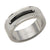 Black & Silver Stainless Steel Checkered Band Ring Rings