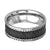 Black & Silver Stainless Steel Checkered Ring with Braided Border - Inox Jewelry India