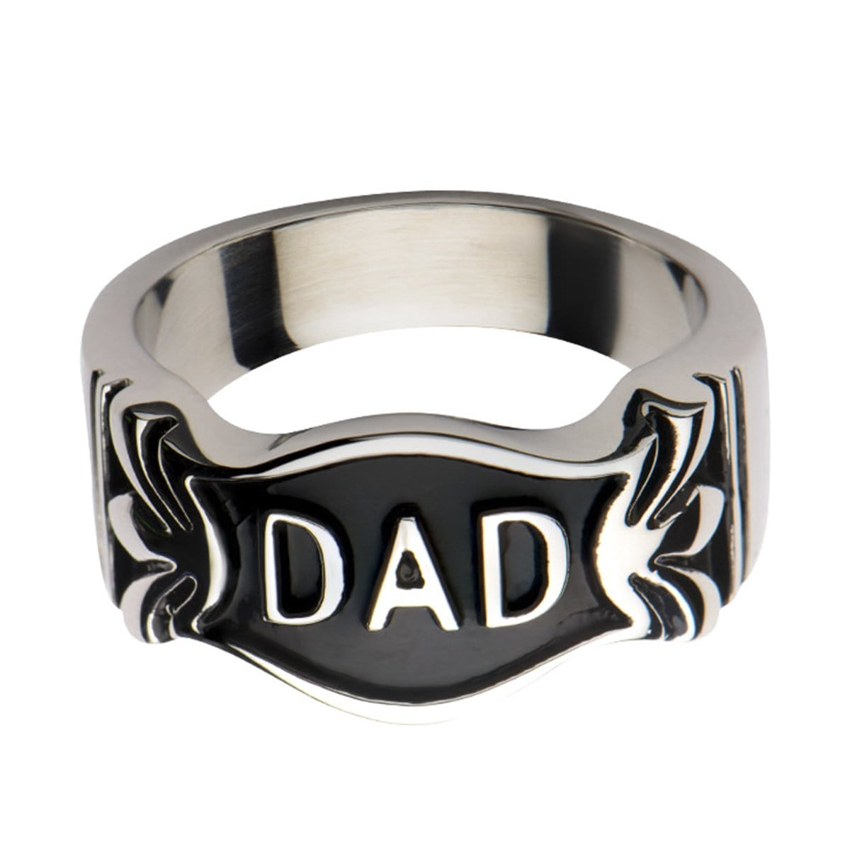 Black & Silver Stainless Steel DAD Emblem Ring