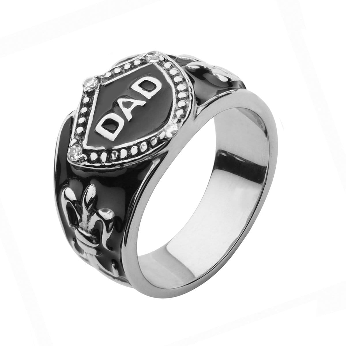 Black & Silver Stainless Steel DAD Ring with Fleur Di Lis Accents