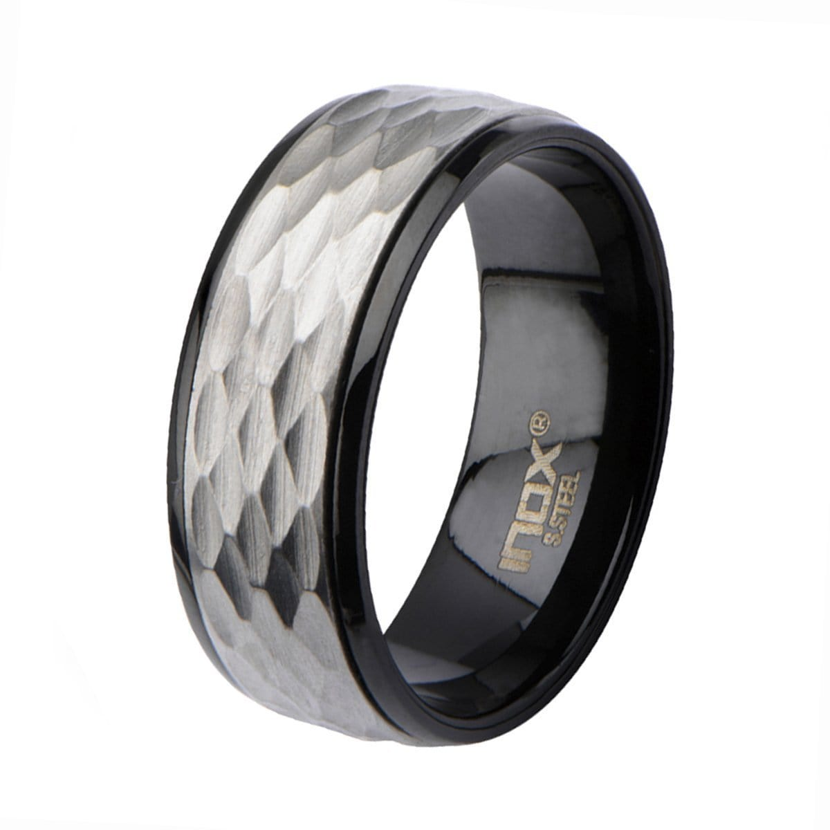 Black & Silver Stainless Steel Dented Easy-Grip Spinner Ring - Inox Jewelry India