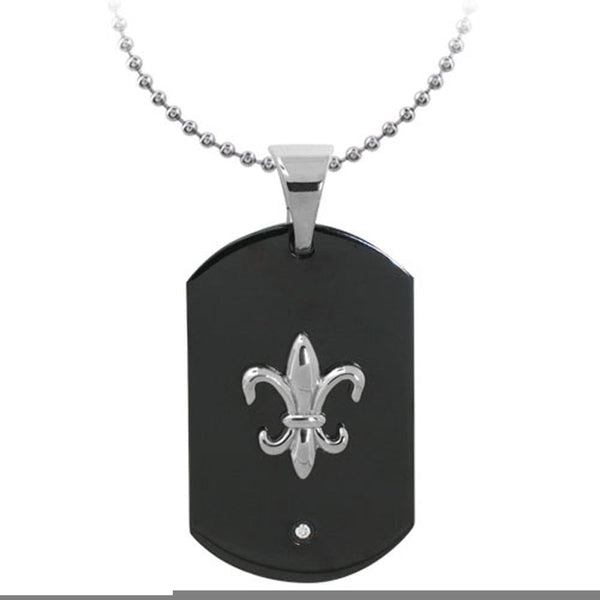 Black & Silver Stainless Steel Embossed Fleur-de-Lis ID Tag with CZ Pendant Pendants