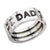 Black & Silver Stainless Steel Engraved DAD Band Ring Rings