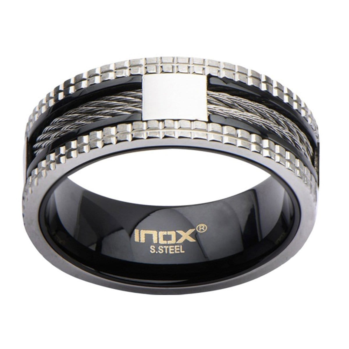 Black & Silver Stainless Steel Exposed Cable Studded Border Ring - Inox Jewelry India