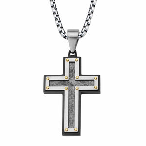 Black & Silver Stainless Steel Hammered Religious Cross with CZ Pendant Pendants
