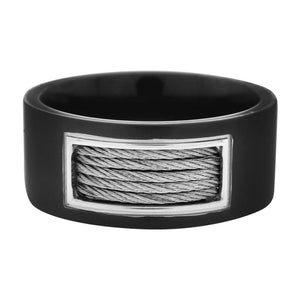Black & Silver Stainless Steel Inlaid Cable Detail Ring Rings