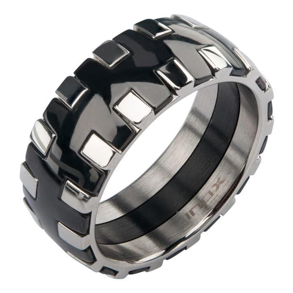 Black & Silver Stainless Steel Interlock Pattern Ring Rings