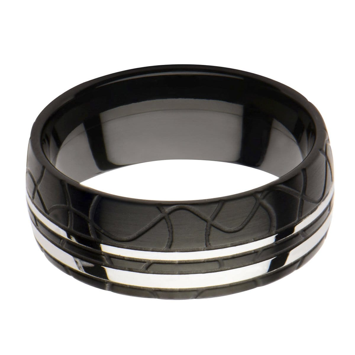 Black & Silver Stainless Steel Jigsaw Patterned Band Rings