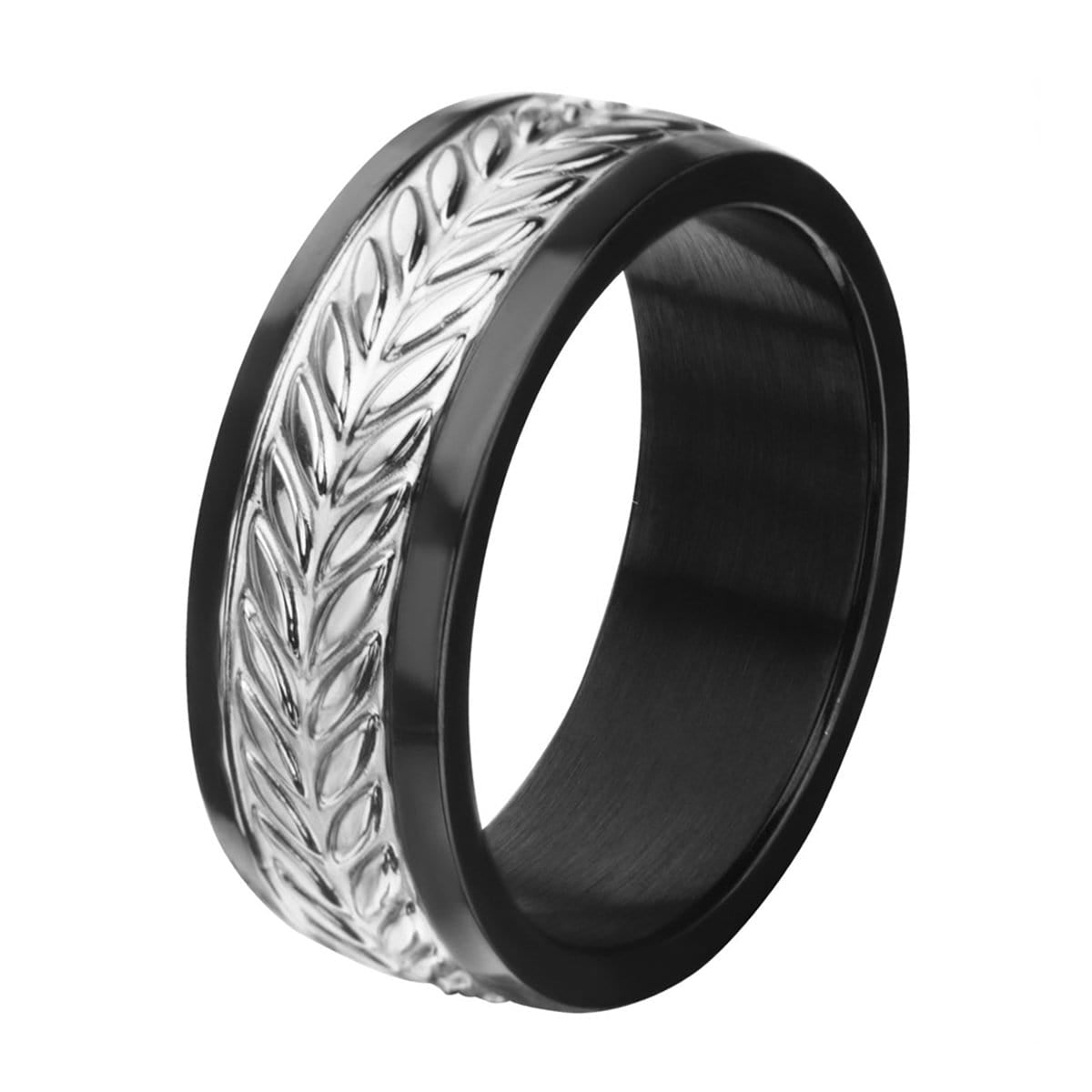Black & Silver Stainless Steel Leaf Patterned Band