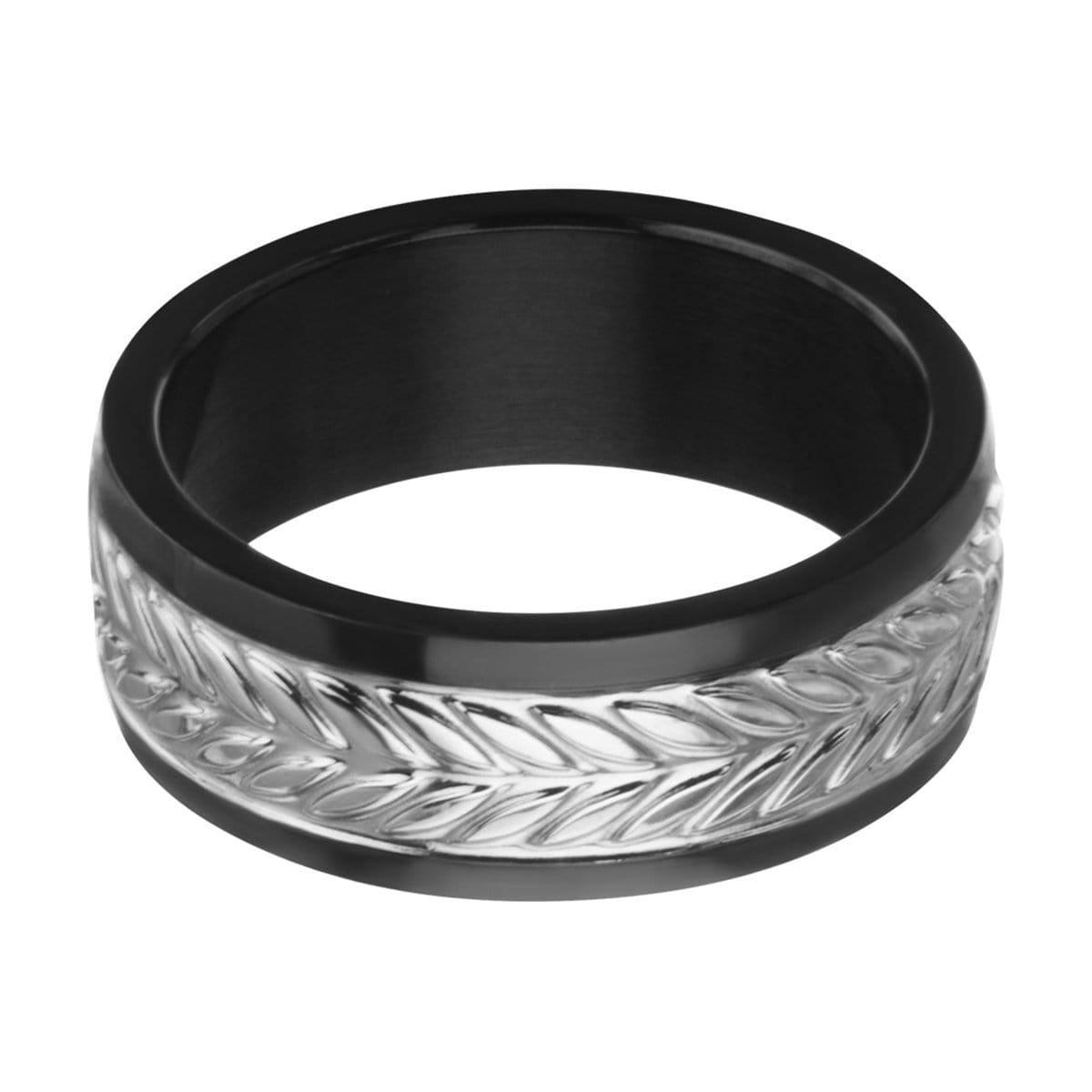 Black & Silver Stainless Steel Leaf Patterned Band Rings