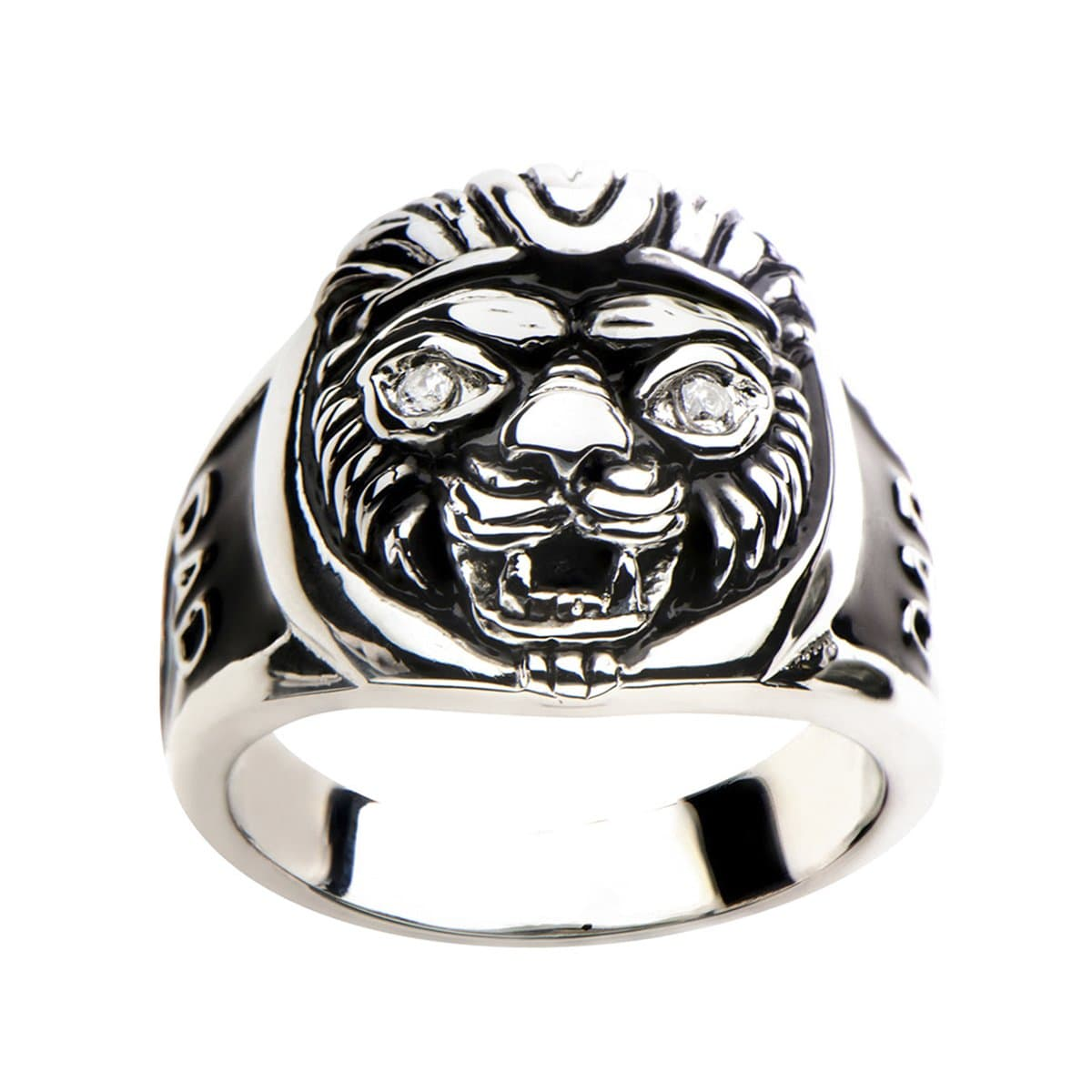 Black & Silver Stainless Steel Lion Head DAD Ring