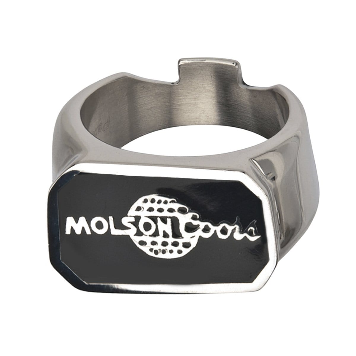 Black & Silver Stainless Steel Molsoncoors Bottle Opener Ring Rings