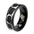Black & Silver Stainless Steel Oval Framed Cable Spinner Ring - Inox Jewelry India