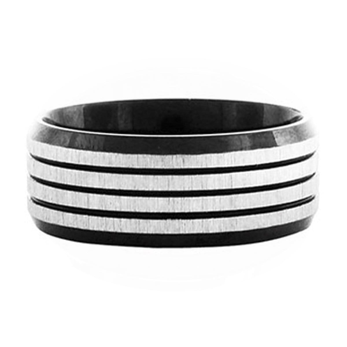 Black & Silver Stainless Steel Quadruple Horizontal Stripe Ring