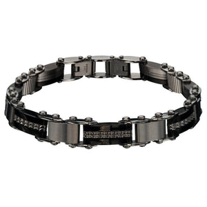 Black & Silver Stainless Steel Reversible Bar Link Bracelet Bracelets