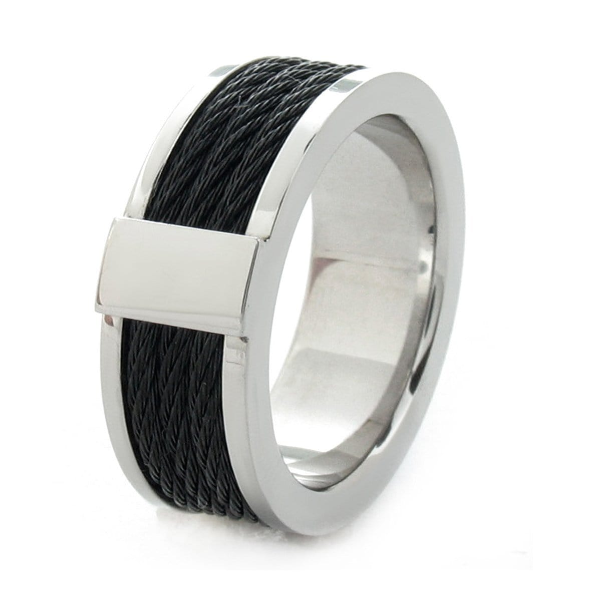 Black & Silver Stainless Steel Ring with Three Inlaid Cables