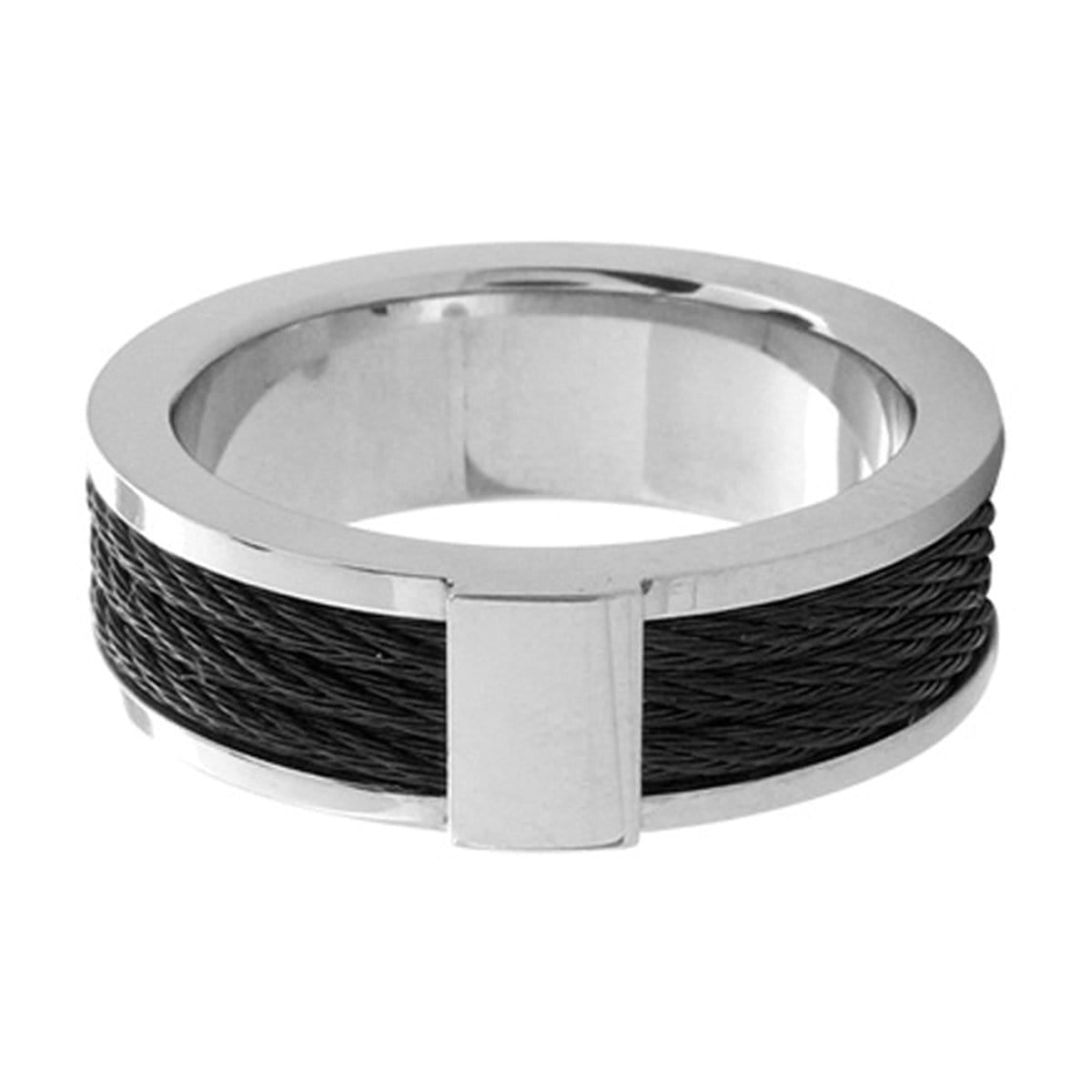 Black & Silver Stainless Steel Ring with Three Inlaid Cables - Inox Jewelry India
