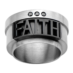 Black & Silver Stainless Steel Roberto Arichi Black CZ FAITH Ring Rings