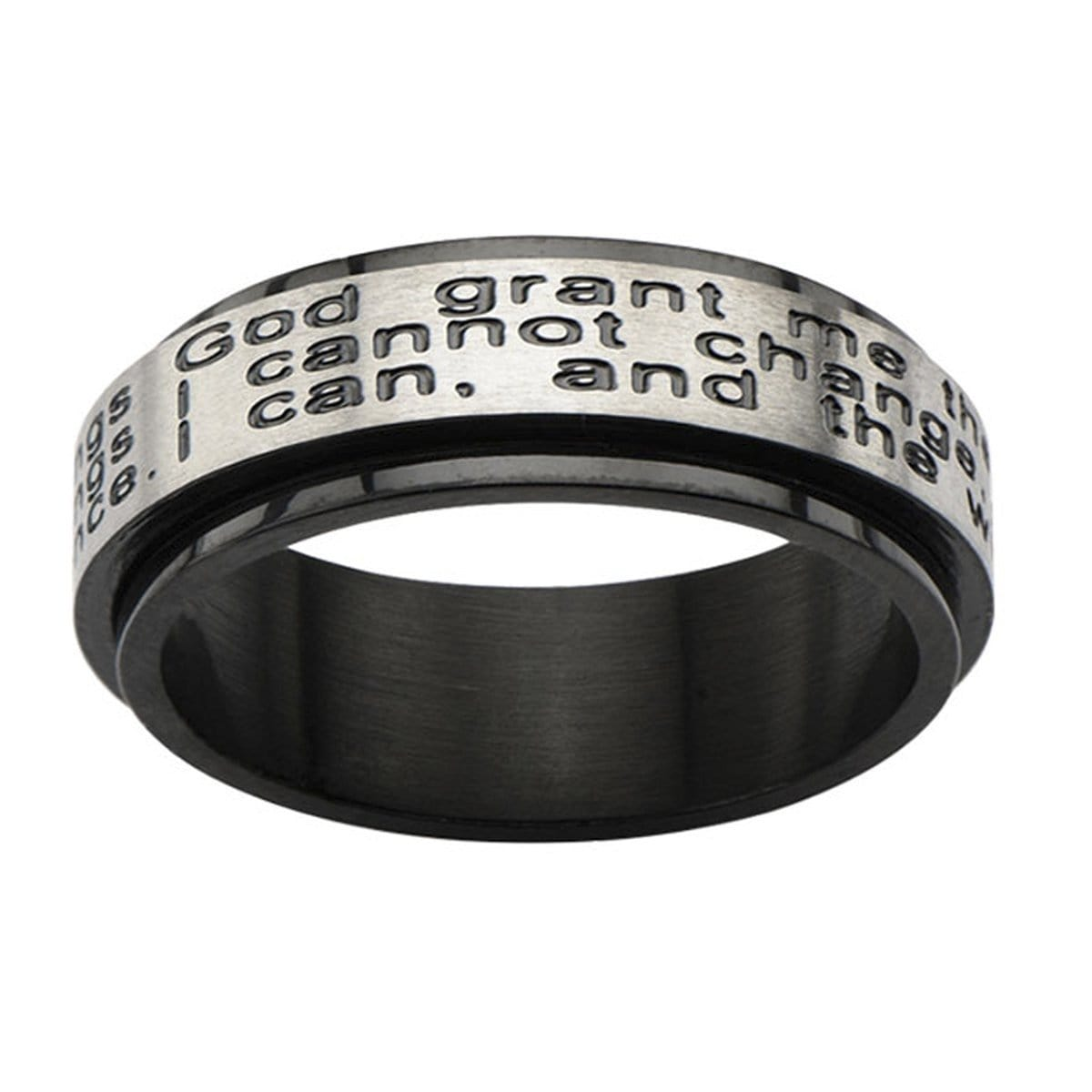 Black & Silver Stainless Steel Serenity Prayer Spinner Ring
