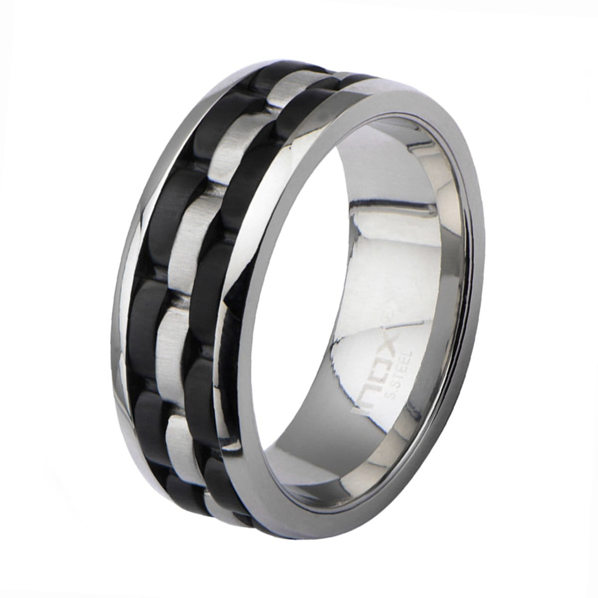 Black & Silver Stainless Steel Triple Row Metal Watch Strap Ring - Inox Jewelry India